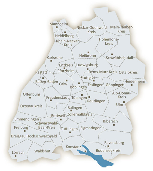 Karte der Landkreise in Baden-Württemberg